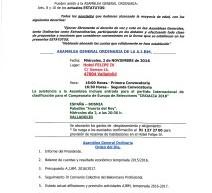 Convocada la Asamblea General Ordinaria AJBM en Valladolid: 2 de noviembre 2016.