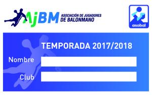 Carnet azul ASOBAL-AJBM 17.18 Anverso